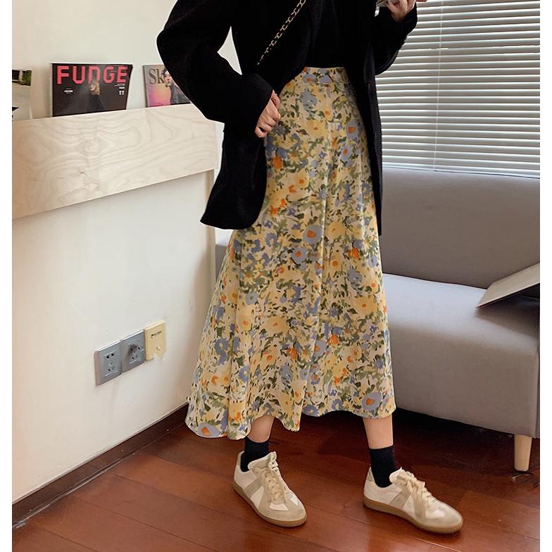 Chân Váy Lưng Cao Dáng Rộng Họa Tiết Hoa Xinh Xắn Thời Trang Hàn Quốc