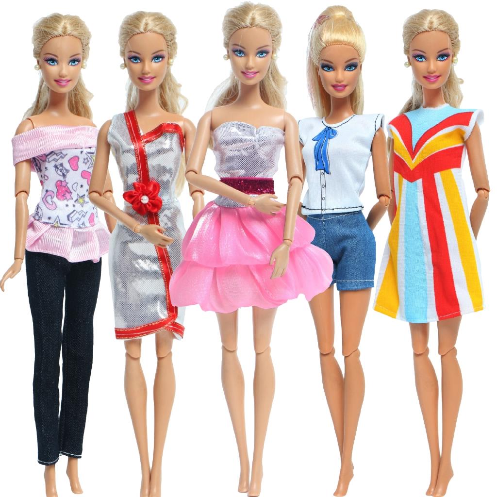 Set 5 Bộ Áo Thun + Quần Dài + Chân Váy Xòe Cho Búp Bê Barbie