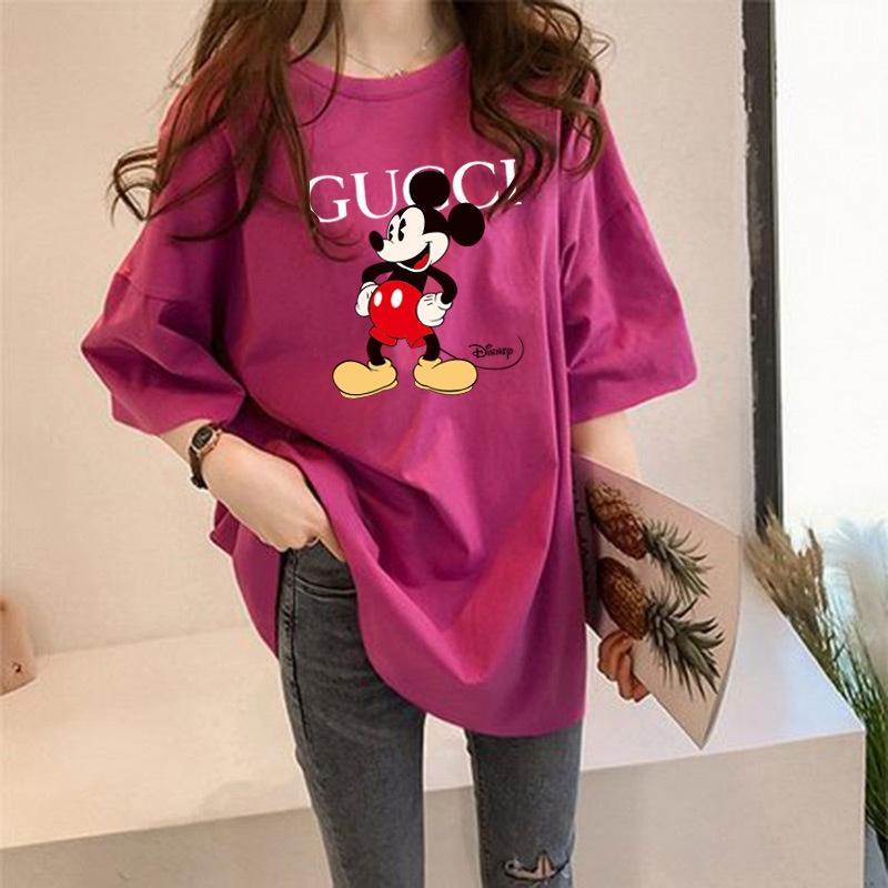 Mùa hè 2020 Chuột Mickey dài giữa áo thun Mickey nữ ngắn tay rộng hàng đầu Hàn Quốc