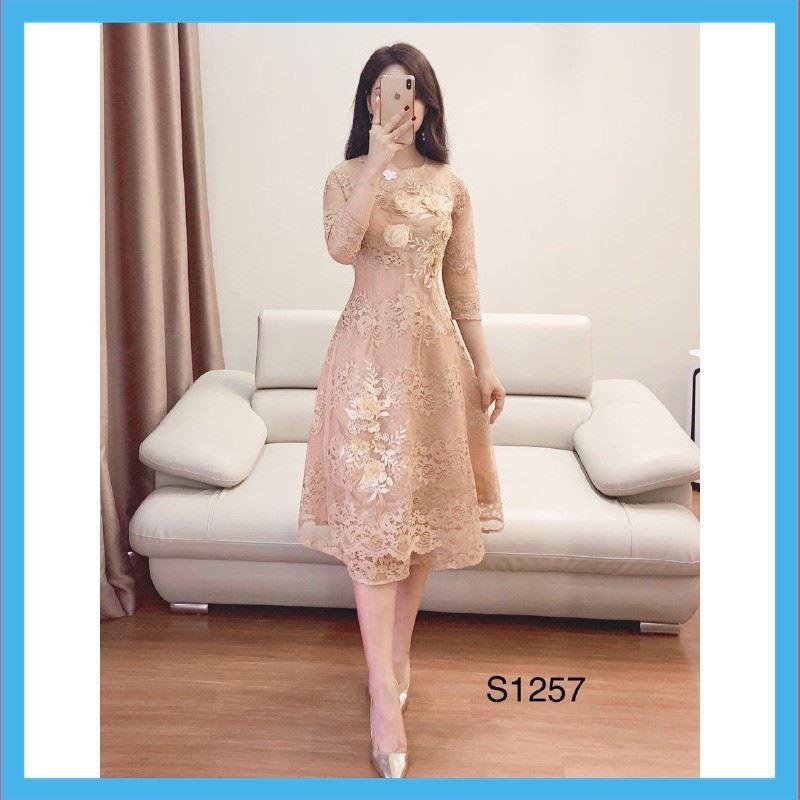 [GIẢM GIÁ SOCK] MiD Set áo dài cách tân S1257 đính hoa tỉ mỉ kèm ảnh thật Chất Lượng