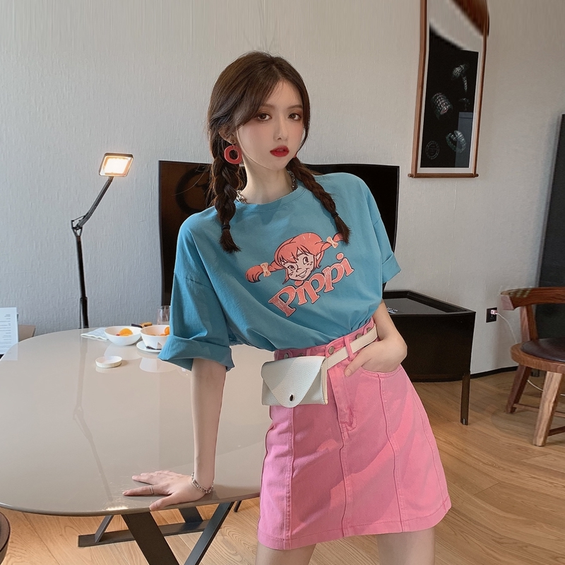 Set Áo Thun Tay Ngắn Dáng Rộng In Hình + Chân Váy Lưng Cao Thời Trang 2020