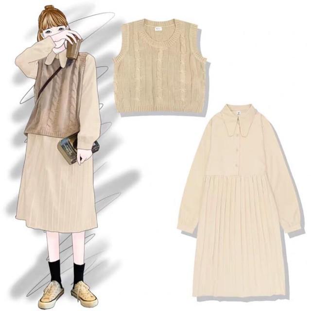 [ORDER] Set áo gile len và đầm xếp ly nhỏ vintage