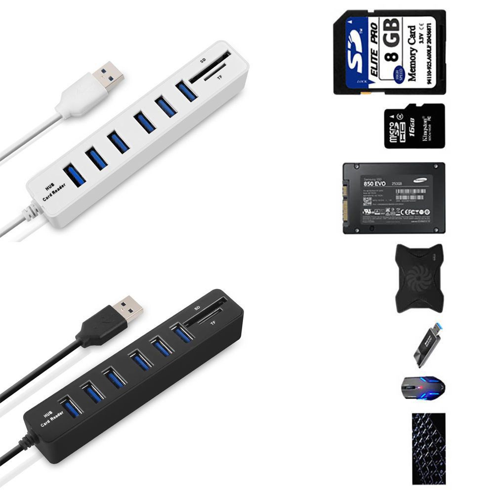 Bộ chia 6 cổng USB tích hợp đầu đọc thẻ 2 trong 1 cho laptop/máy tính