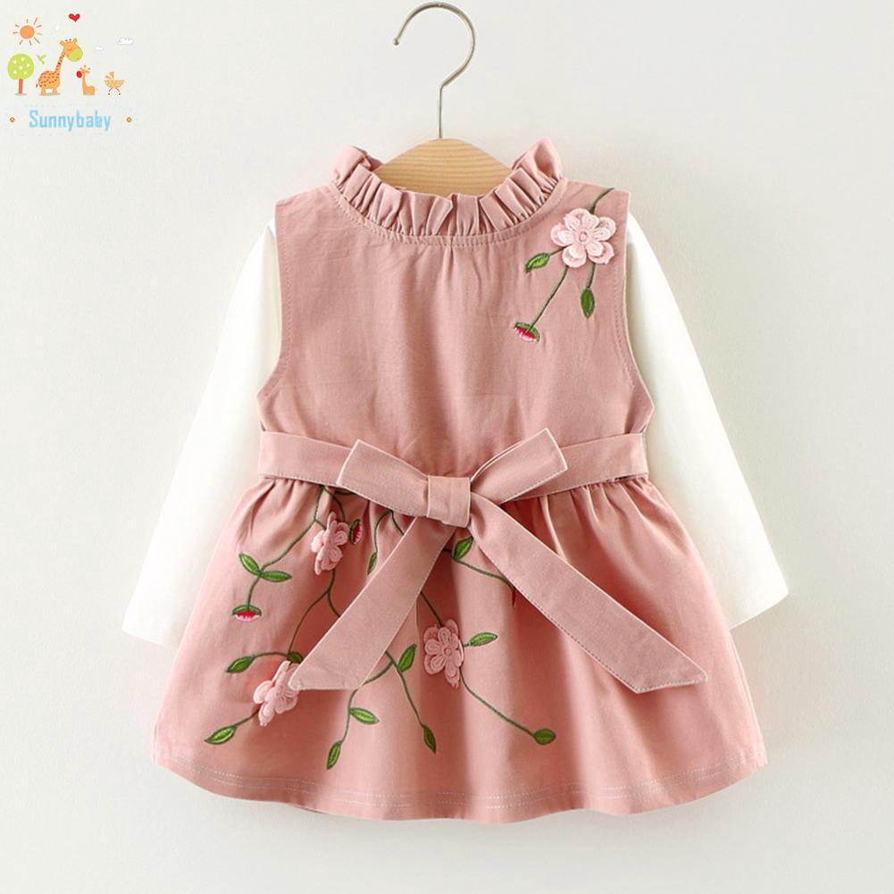 Set áo thun ngắn tay và chân váy xòe trơn màu xinh xắn dành cho bé gái