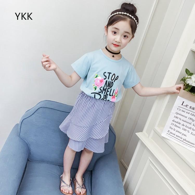 Áo thun tay ngắn + chân váy kẻ sọc đáng yêu dành cho bé gái