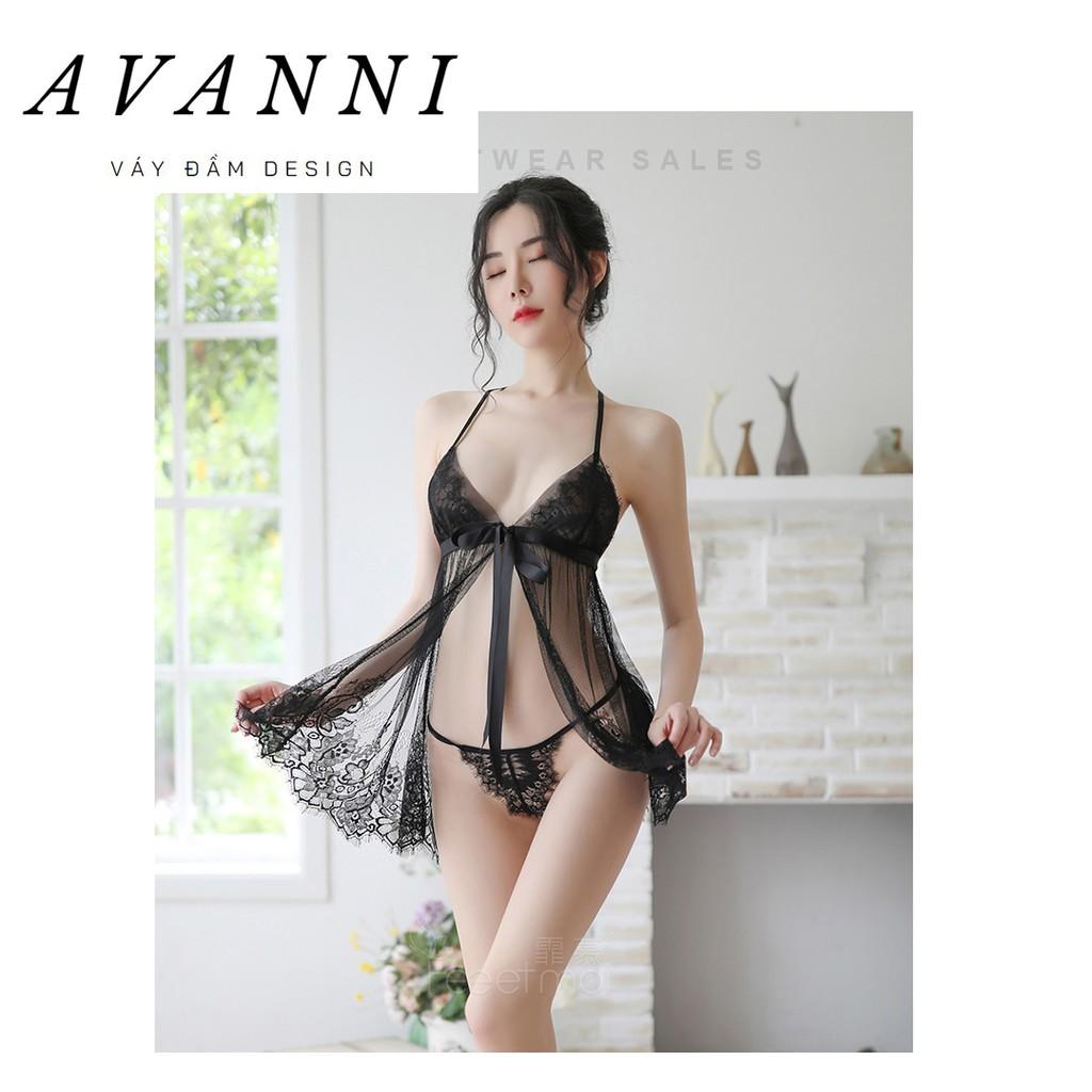 Váy ngủ xuyên thấu sexy siêu gợi cảm 2 dây mặc nhà cute, Đồ đầm ngủ dễ thương quyến rũ gợi tình