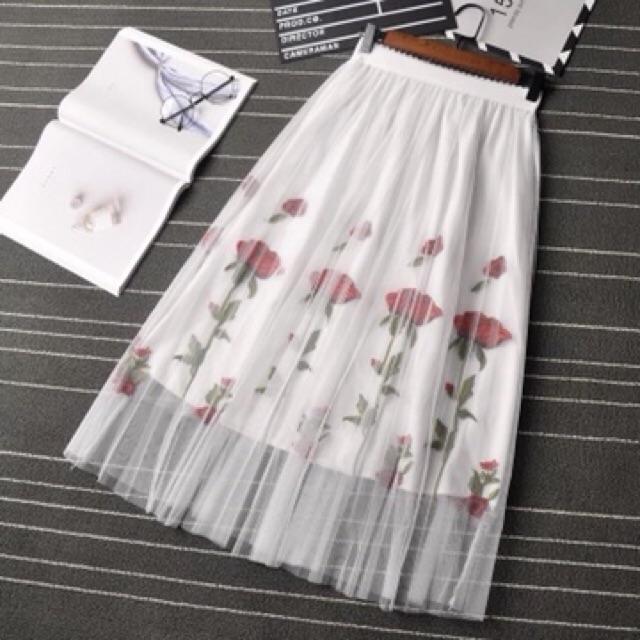 Chân váy lưới thêu hoa nổi Quảng Châu
