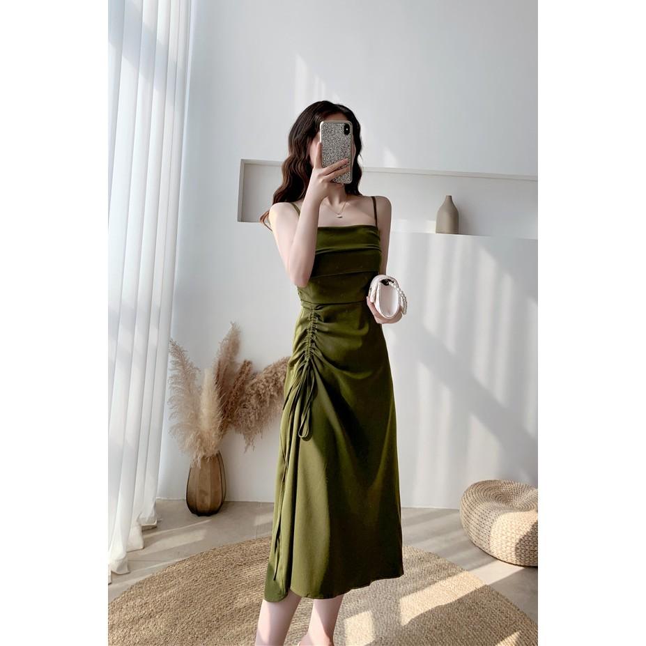 Chân Váy Lưng Cao Màu Trơn Phong Cách Retro Đơn Giản Cho Nữ