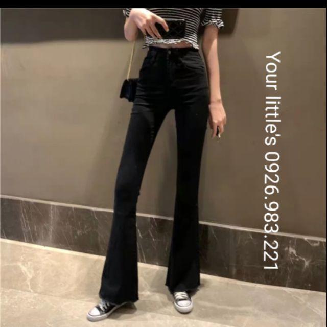 Quần jean lưng cao ống loe đen