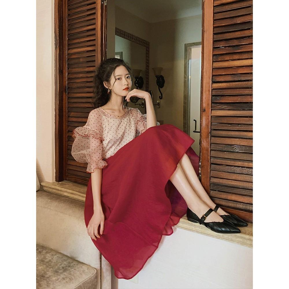 [ORDER] Set áo voan (kèm lót) + chân váy đỏ xòe (kèm ảnh thật)