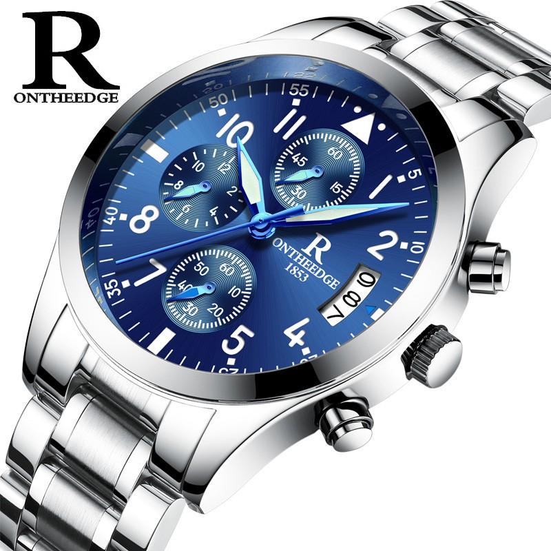 (FULL BOX) Đồng hồ nam chính hiệu mã RZY 028 DÂY KIM LOẠI MẶT TRÒN CHẠY 6 KIM