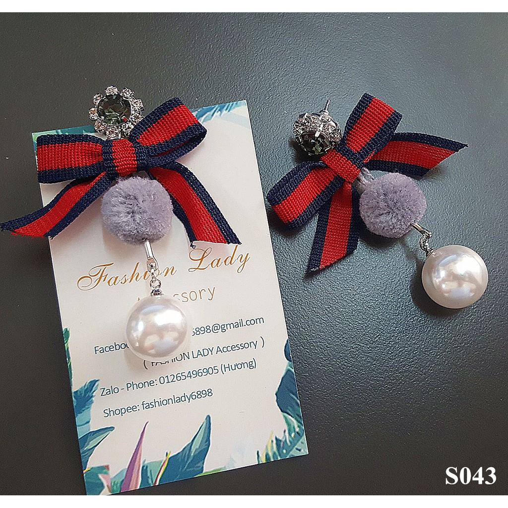 Bông tai bạc style Hàn Quốc thời trang dịu dàng dễ phối không gây dị ứng hoa tai đính đá nơ bướm cục bông và ngọc trai