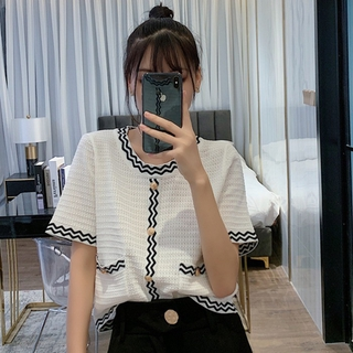 Fashion Women clothing Loose All Match Knitted Short Sleeve Top