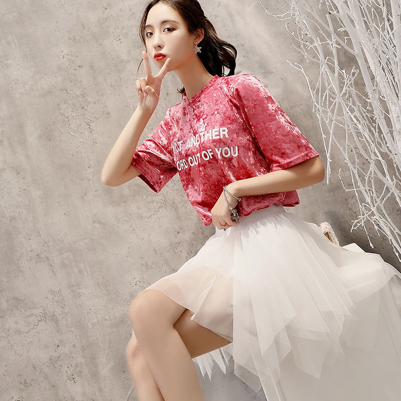 Chân Váy Chữ A Phối Lưới Phong Cách Hàn Quốc Dành Cho Nữ