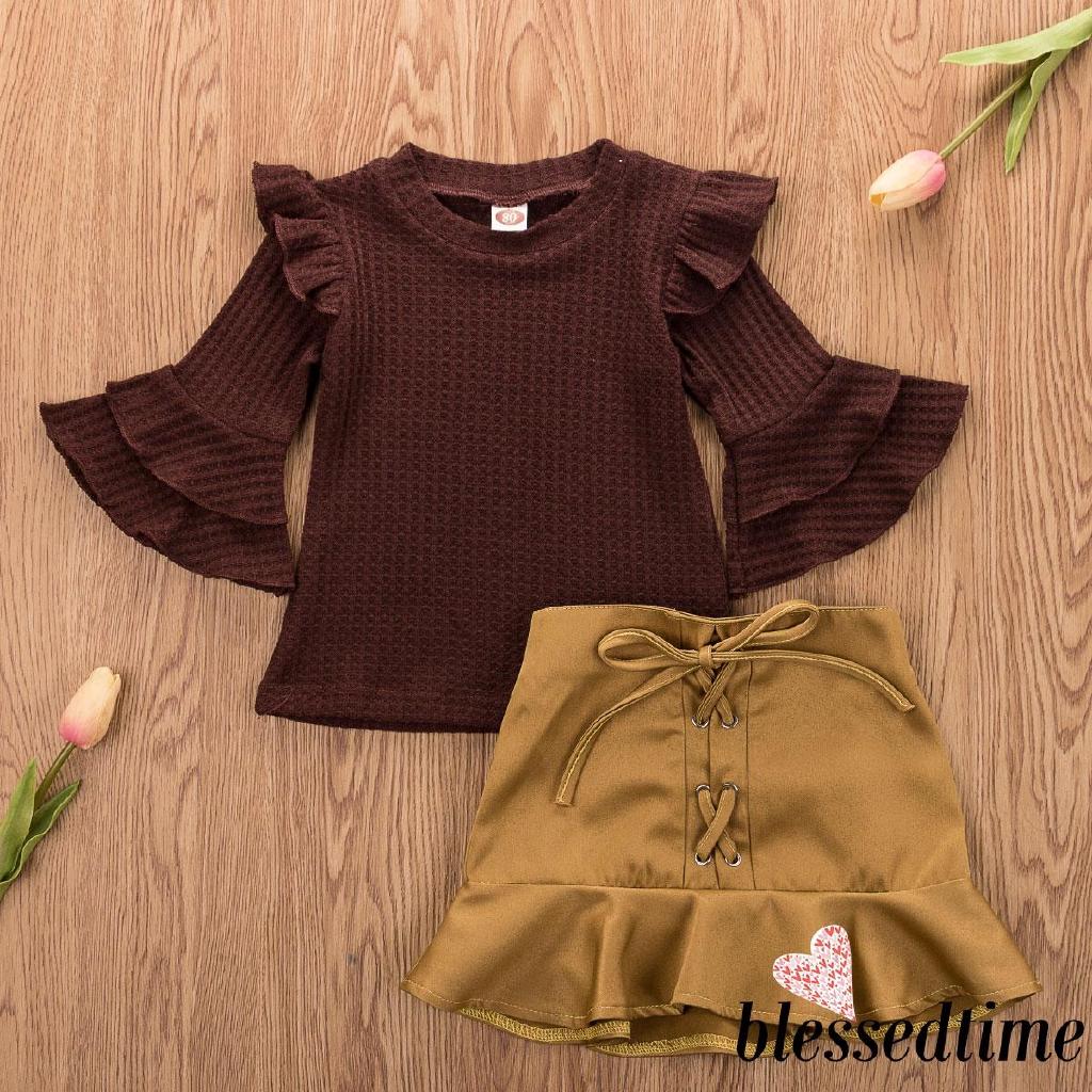 Set áo thun dài tay nhún bèo + Chân váy xòe đáng yêu cho bé gái