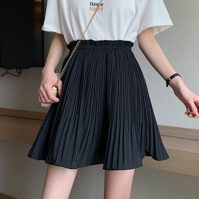 Chân Váy Đen Eo Cao Phối Xếp Li Phong Cách Hàn Quốc 2020