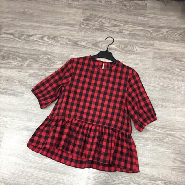 Áo babydoll kẻ đỏ mát mẻ, giấy bụng tốt
