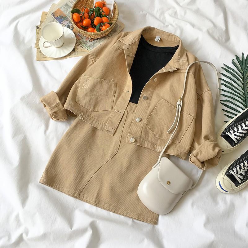 Order 10 ngày_set áo khoác, chân váy jeans H6691