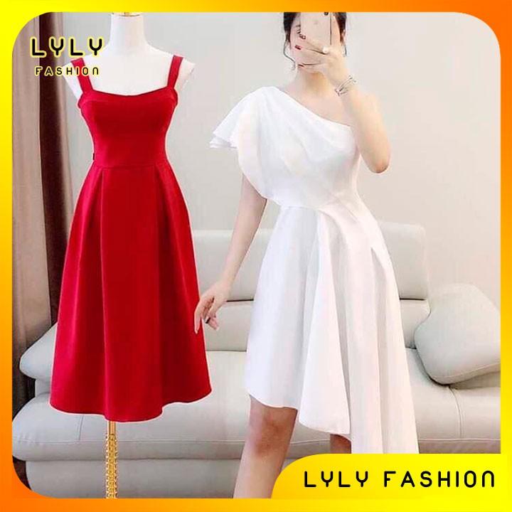 Váy đầm dáng xoè lệch vai nhún eo GV1148 váy thiết kế kèm ảnh thật