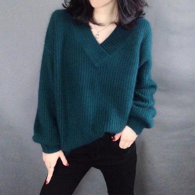 Áo len cổ V