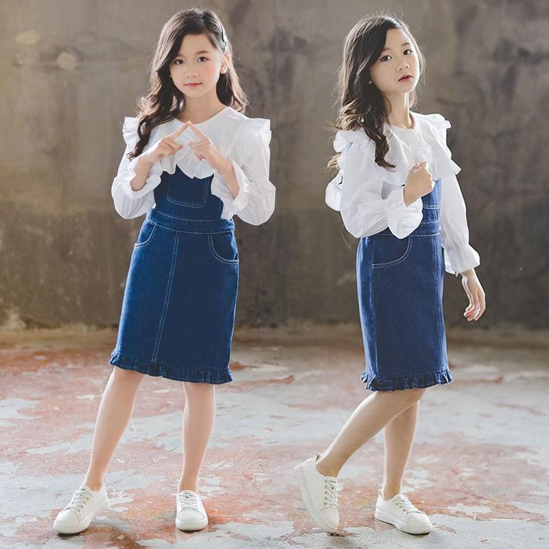 Bộ Áo Thun + Chân Váy Xinh Xắn Đáng Yêu Phong Cách Hàn Quốc 2020 Cho Bé Gái
