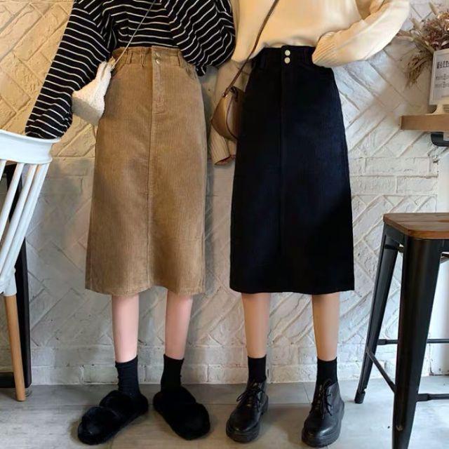 [ORDER] Chân váy kaki nhung tăm dáng dài Ulzzang – 4704990432