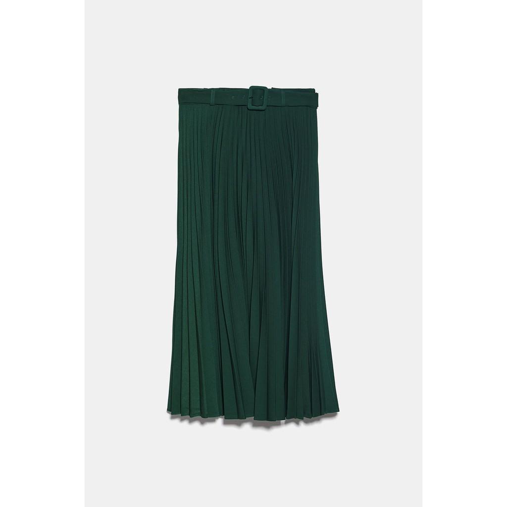 Chân váy Zara màu xanh kèm belt mẫu 2019 (Pleated Skirt)