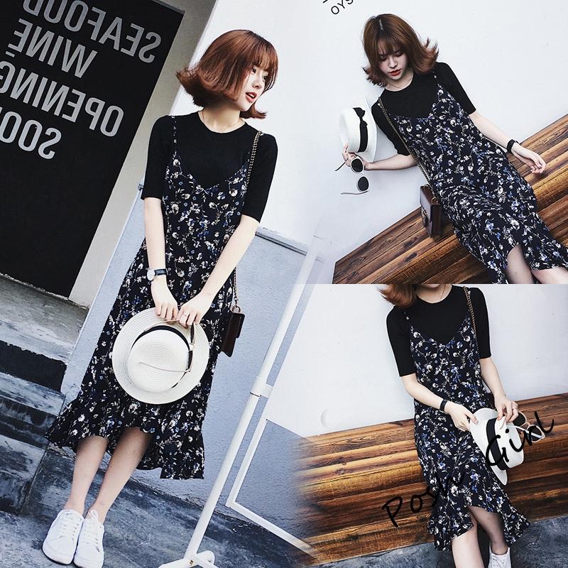 Set Áo Thun Tay Ngắn + Chân Váy Hoa Phong Cách Retro Hàn Quốc Cho Nữ