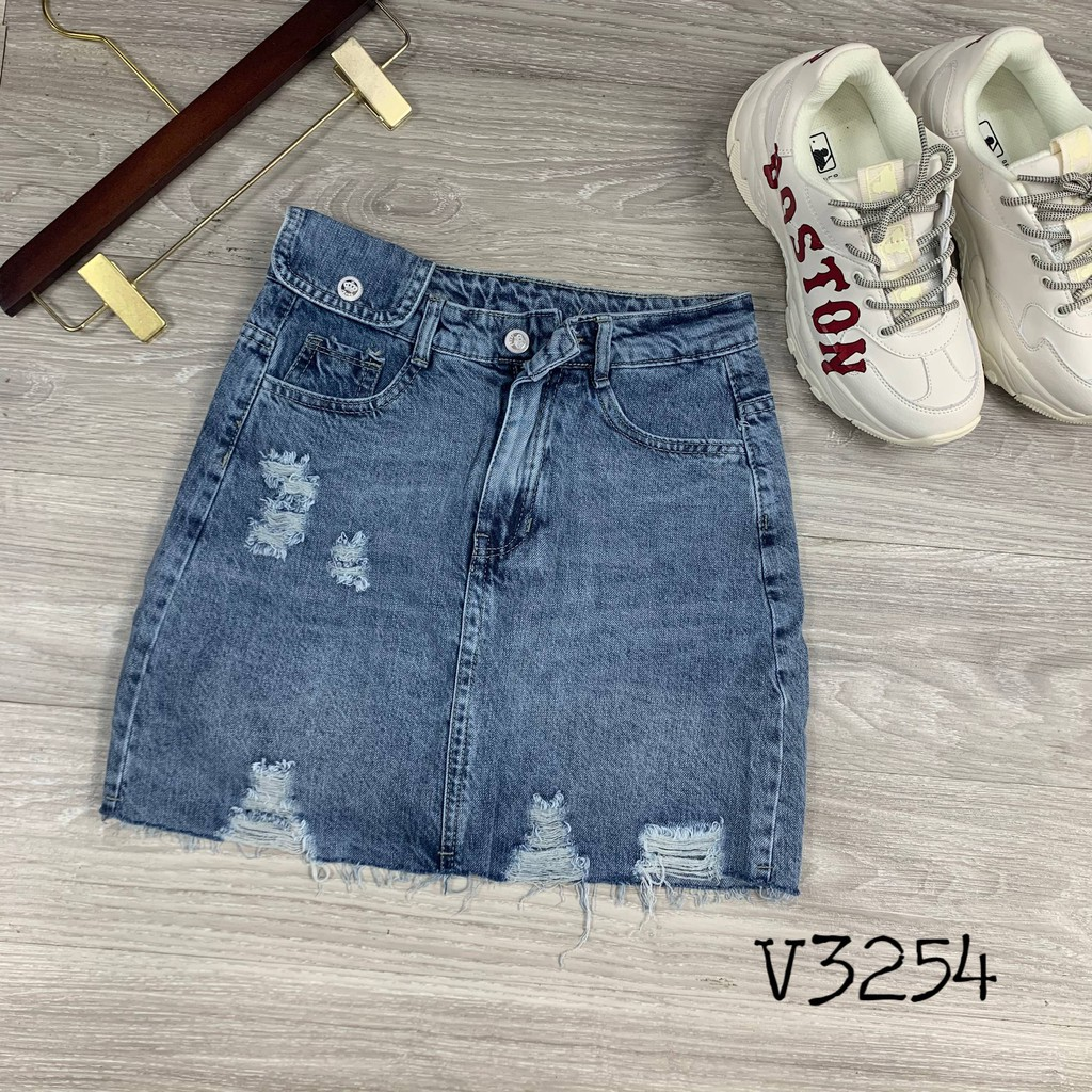 Chân váy jean nữ rách lưng cao xanh V3254