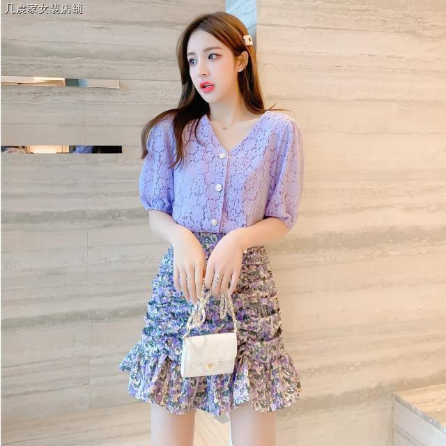 Bộ Áo Ren Ngắn Tay + Chân Váy Hoa Xinh Xắn Dành Cho Nữ 2020