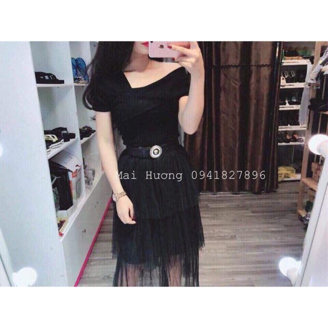 1204366439 - Sét chân váy ren áo lệch vai kèm ảnh thật