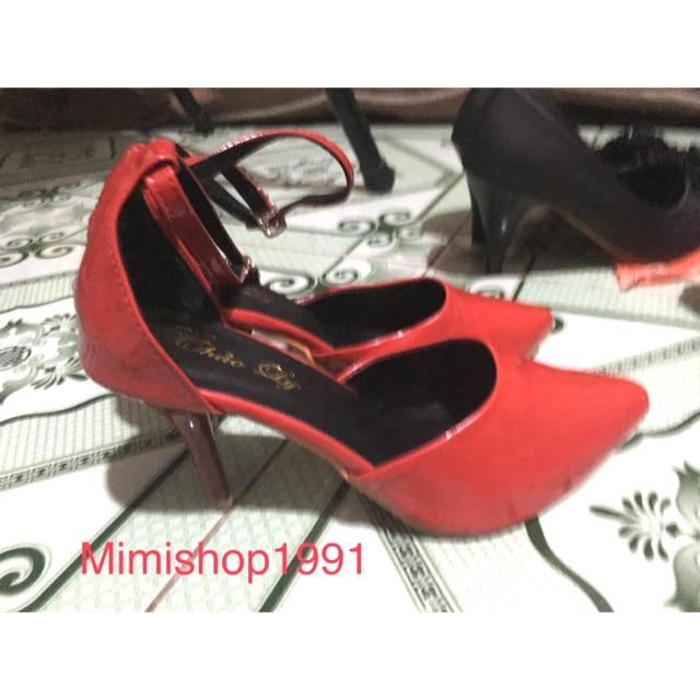 Giày cao 5p đỏ dây đeo ( hình chụp thật sản phẩm)