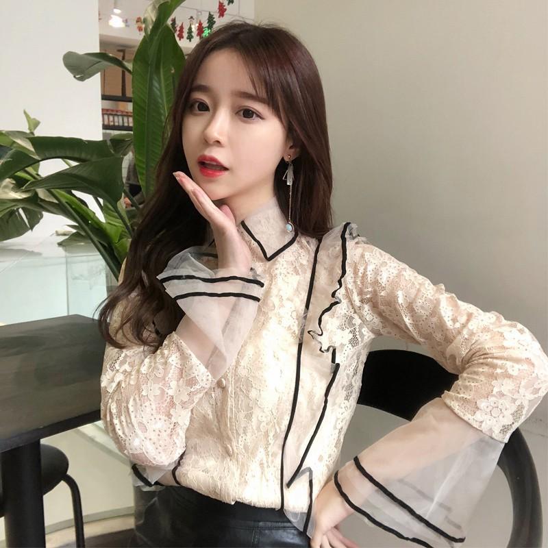 Shop mới ÁO SƠ MI REN CÁCH ĐIỆU không áo lót Quảng Châu order