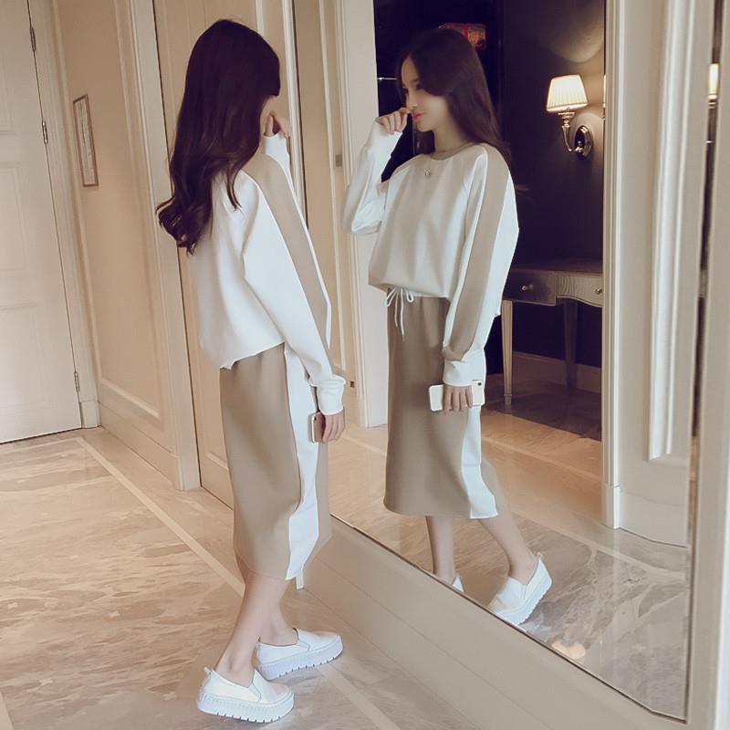 Set Áo Thun Tay Dài + Chân Váy Dài Phong Cách Hàn Quốc Xinh Xắn Cho Nữ