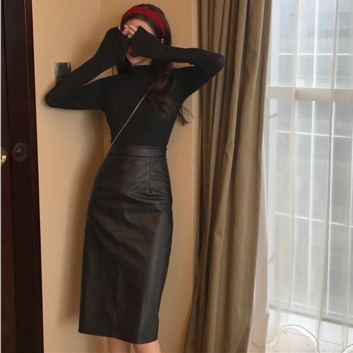 Set Áo Thun Tay Ngắn + Chân Váy Da Lưng Cao Cá Tính Cho Nữ