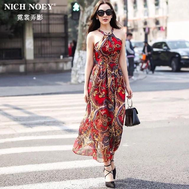 Đầm maxi họa tiết đỏ