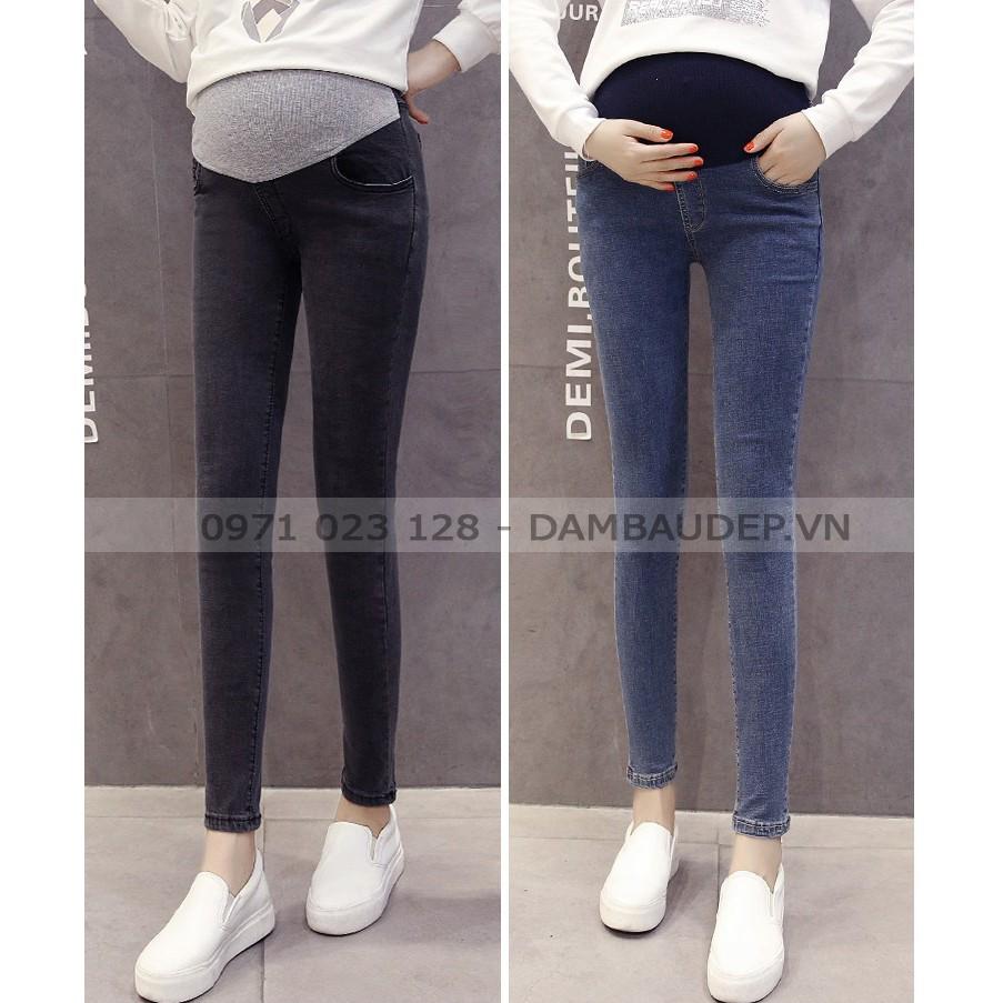 Đồ bầu và đồ sau sinh - Quần jeans trơn cạp cao,cạp chéo