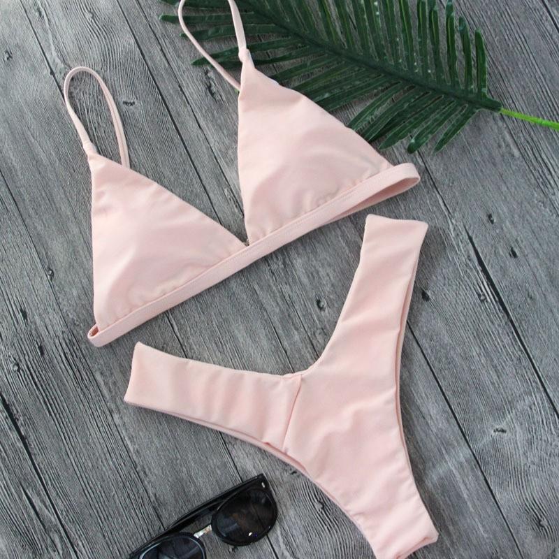 Bikini màu trơn thiết kế quyến rũ cho nữ