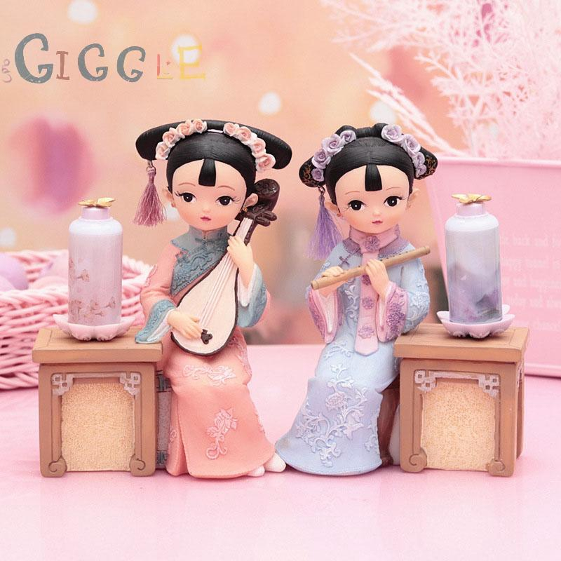 Ornament Office Chinese Style Doll Retro Small Miniature Statue Figurine Display Night Light Lamp Gift.decoration