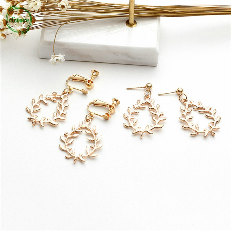 CF Fashion Korean Style Wheat Dangle Earrings Women Unique Geometric Circle Hollow Jewelry
