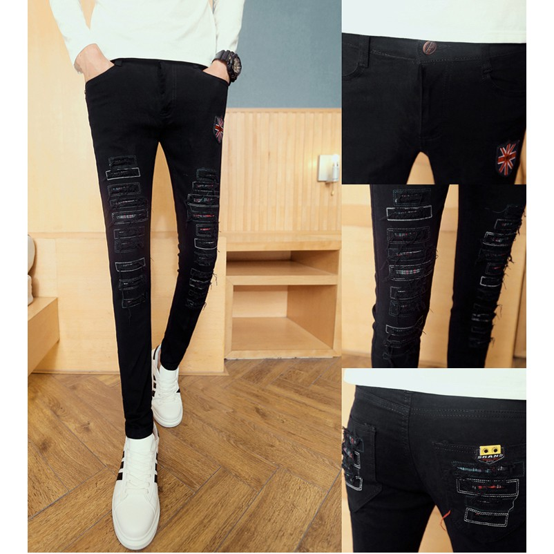 quần jeans rách logo cờ anh Mã: ND0877