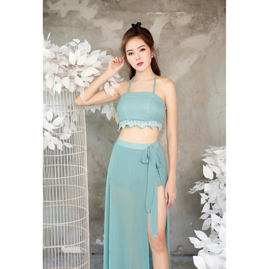 Set áo váy kiểu áo croptop và chân váy dài xẻ tà VL53