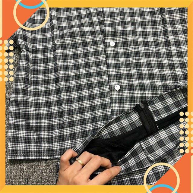 Set Vest Caro Phối Với Chân Váy Ulzzang Hàng Loại 1