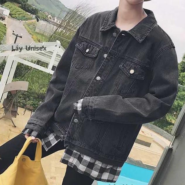 áo khoác jean nam đen 3892