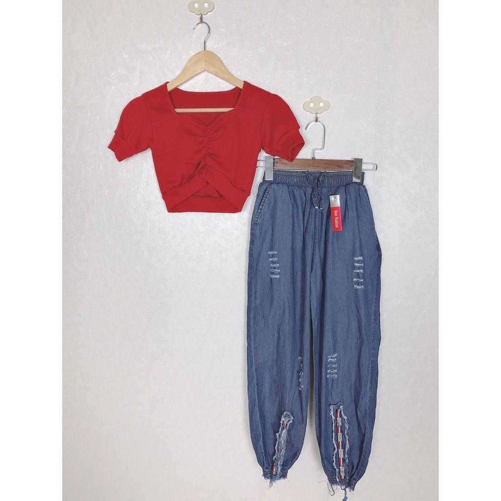 Set áo croptop rút ngực và quần jean siêu cute luôn U2812 mới nè