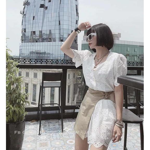 Sét Áo Váy Hoa Trắng + Chân Váy Pha Hoa