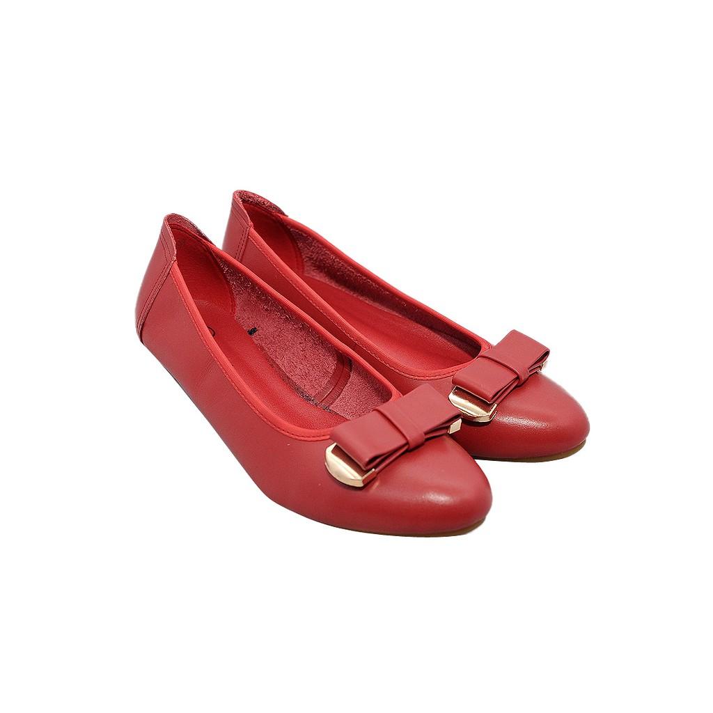 Giày bệt nữ da bò thật màu đỏ ESW193