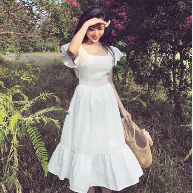 Đầm maxi đi biển siêu xinh, đầm trắng tiểu thư đẹp bồng bềnh