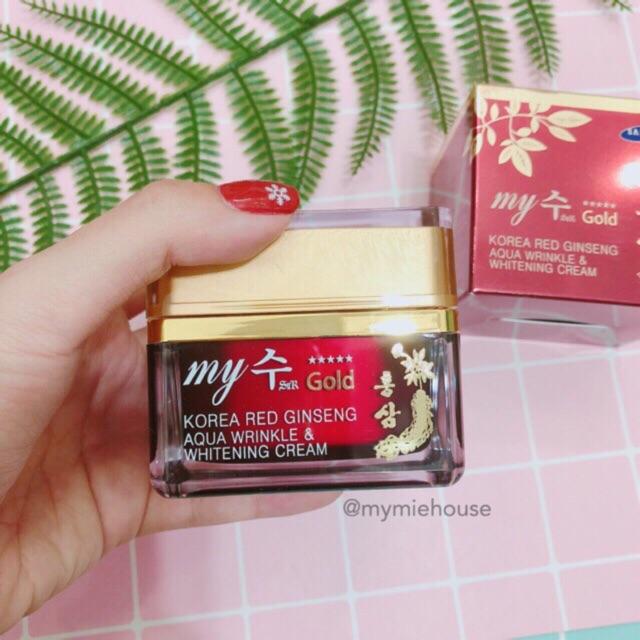 KEM DƯỠNG NHÂN SÂM MY JIN GOLD KOREA RED GINSENG AQUA WRINKLE & WHITENING CREAM