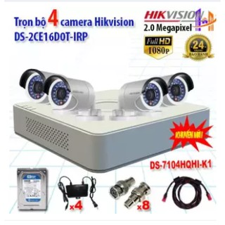 Trọn bộ 4 camera Hikvision DS-2CE16D0T-IRP 2.0MP và DS-7104HGHI-F1 | camera full HD